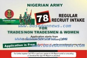 Nigerian Army Recruitment 2019/2020 Application Form for 78RRI for