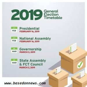 2019 Election timetable in Nigeria